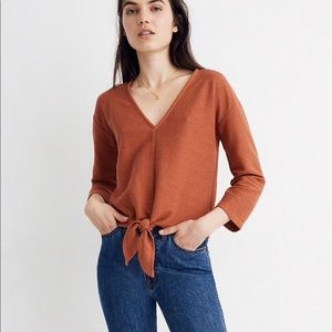 NWT Madewell Long-Sleeve Tie-Front Top XS